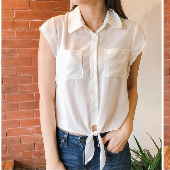 Jack by BB Dakota Tops - The Lined Up Front Tie Blouse
